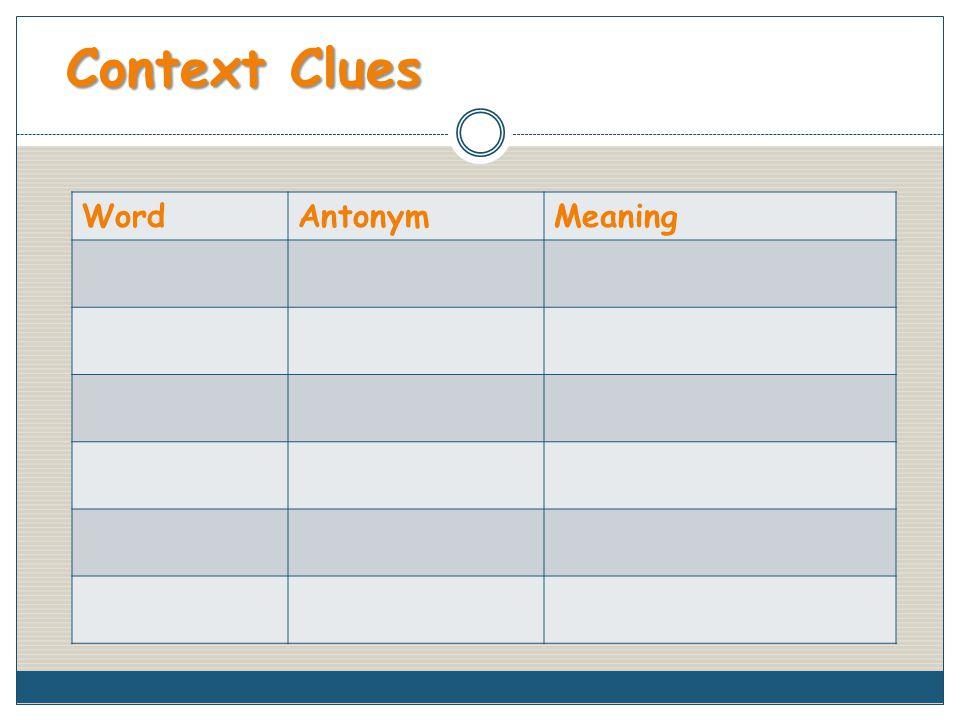 Context Clues WordAntonymMeaning
