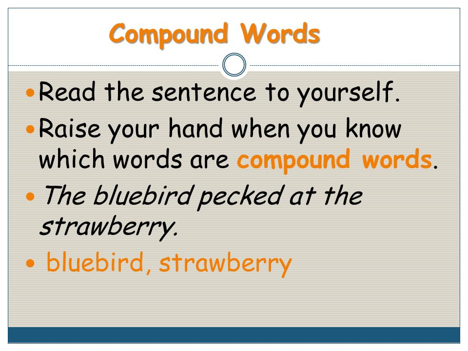 Read the sentence to yourself. Raise your hand when you know which words are compound words.