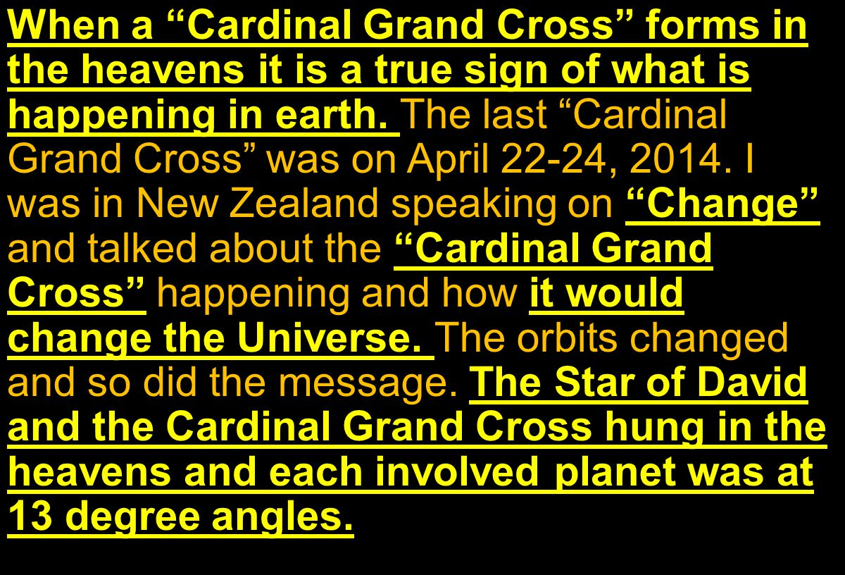 When a Cardinal Grand Cross forms in the heavens it is a true sign of what is happening in earth.