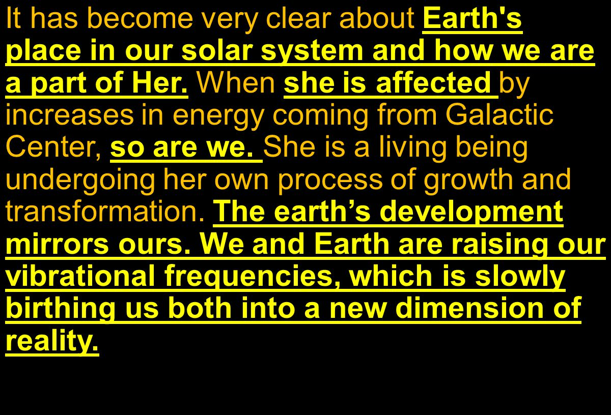 It has become very clear about Earth s place in our solar system and how we are a part of Her.