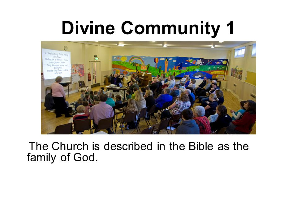 Divine Community 1 The Church is described in the Bible as the family of God.