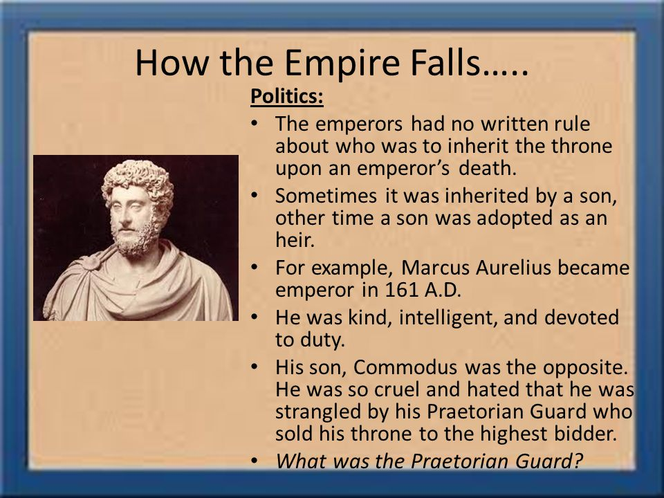 How the Empire Falls…..