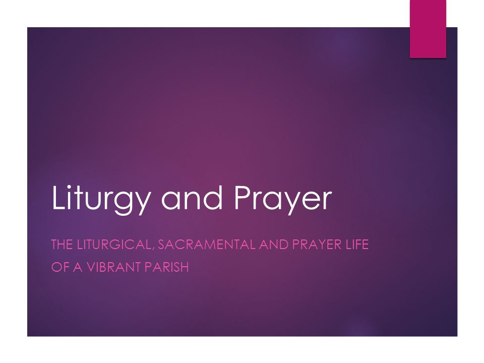 Liturgy and Prayer THE LITURGICAL, SACRAMENTAL AND PRAYER LIFE OF A VIBRANT PARISH
