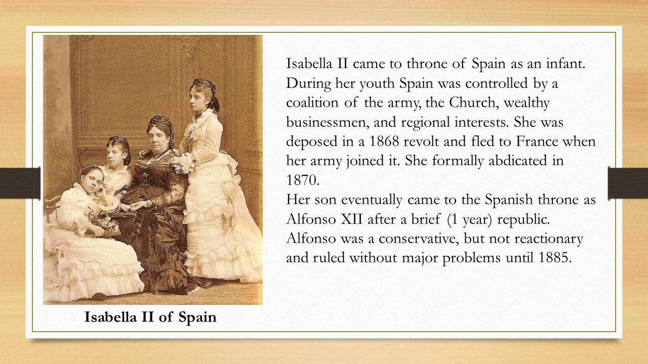 Isabella II came to throne of Spain as an infant.