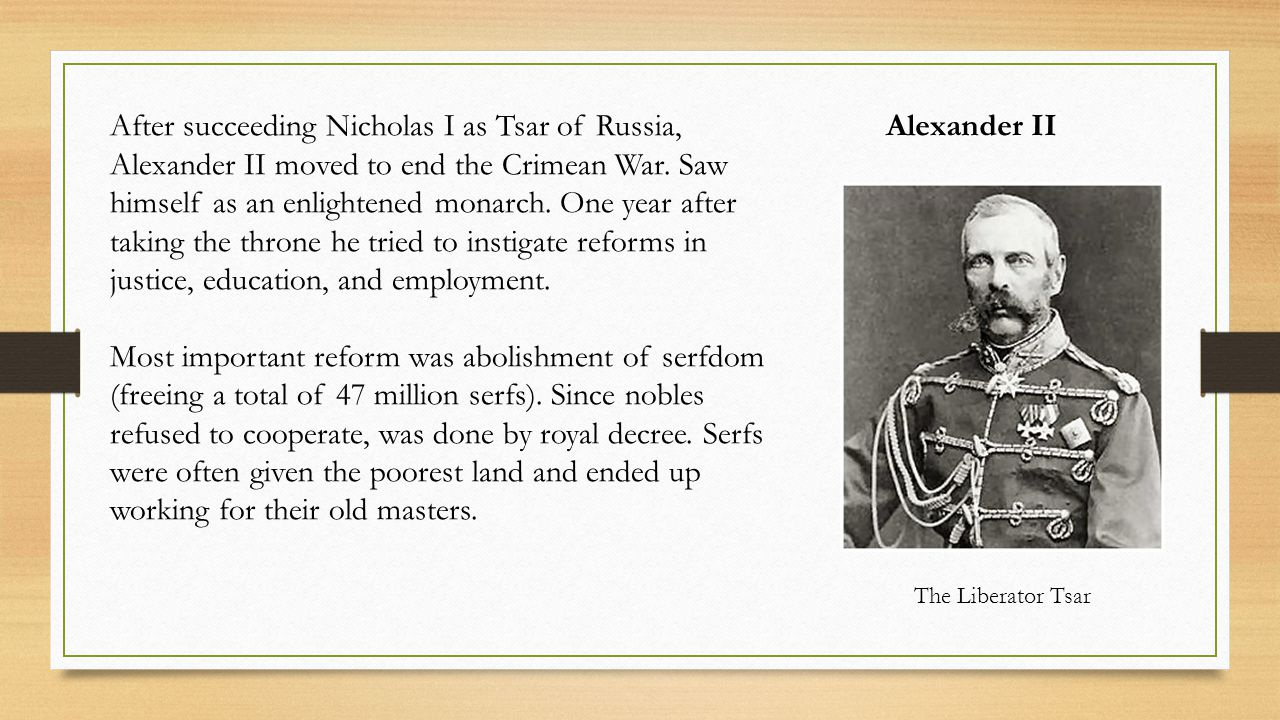 Alexander IIAfter succeeding Nicholas I as Tsar of Russia, Alexander II moved to end the Crimean War.