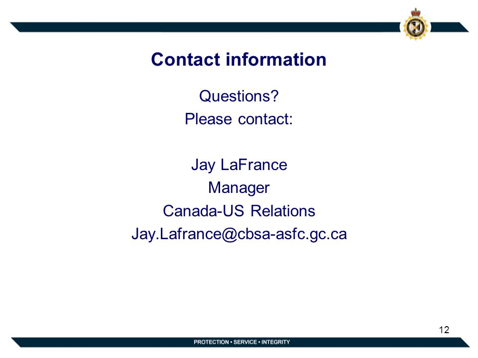 Contact information Questions.