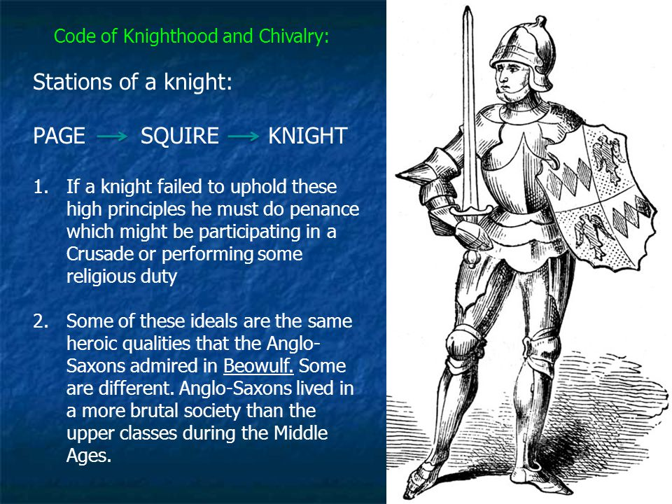 Code of Knighthood and Chivalry: 1.If a knight failed to uphold these high principles he must do penance which might be participating in a Crusade or