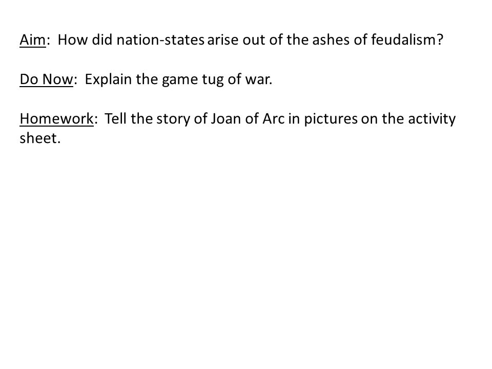 Aim: How did nation-states arise out of the ashes of feudalism.
