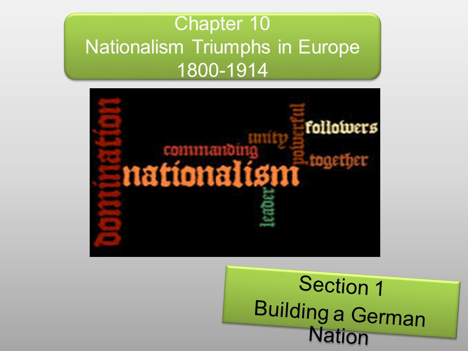 Chapter 10 Nationalism Triumphs in Europe 1800-1914 Section 1 Building a German Nation Section 1 Building a German Nation