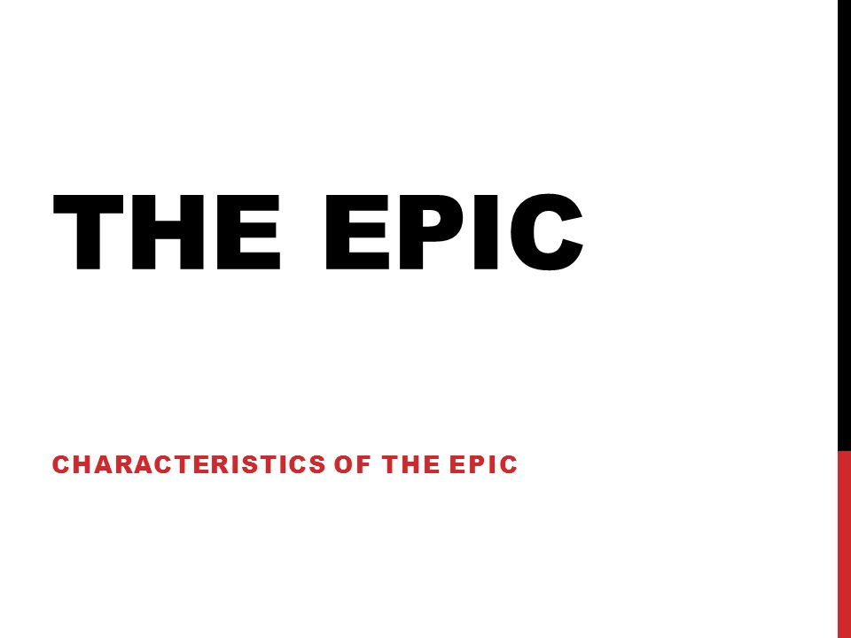 THE EPIC CHARACTERISTICS OF THE EPIC