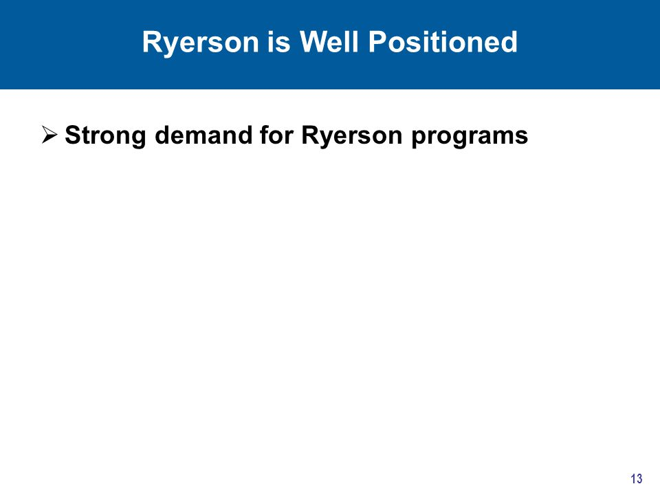 Ryerson is Well Positioned  Strong demand for Ryerson programs 13