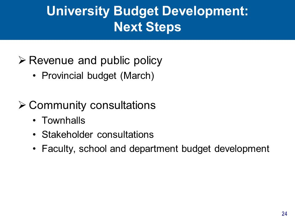 University Budget Development: Next Steps  Revenue and public policy Provincial budget (March)  Community consultations Townhalls Stakeholder consultations Faculty, school and department budget development 24