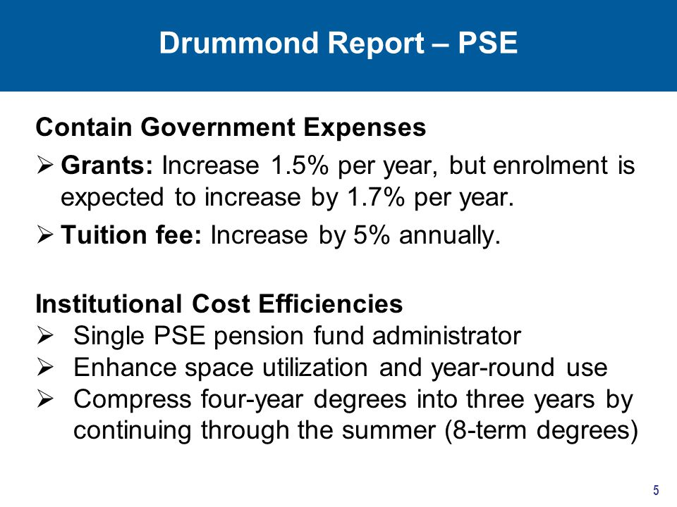 Drummond Report – PSE 5 Contain Government Expenses  Grants: Increase 1.5% per year, but enrolment is expected to increase by 1.7% per year.