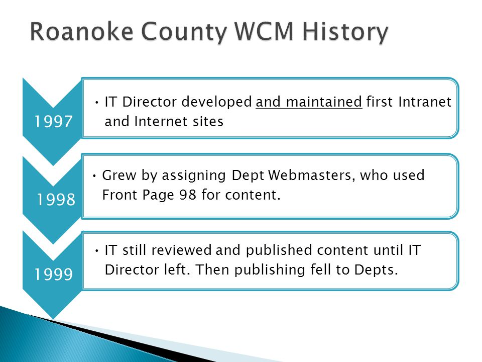 1997 IT Director developed and maintained first Intranet and Internet sites 1998 Grew by assigning Dept Webmasters, who used Front Page 98 for content.
