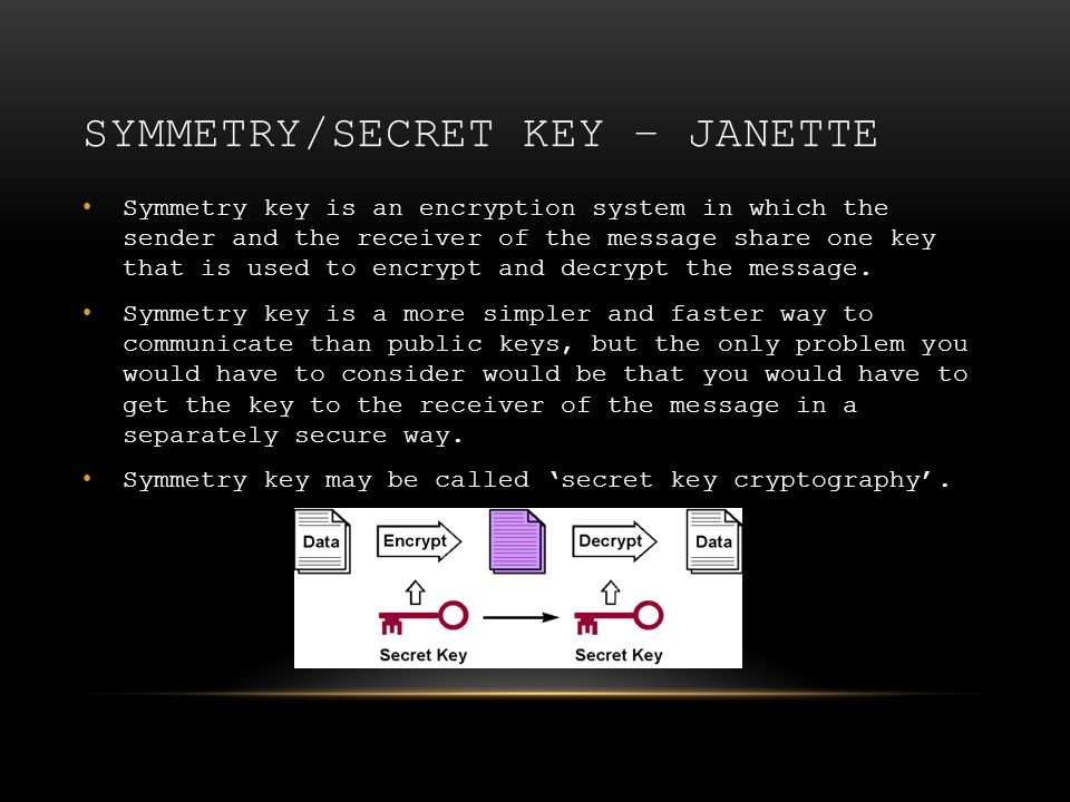 SYMMETRY/SECRET KEY – JANETTE Symmetry key is an encryption system in which the sender and the receiver of the message share one key that is used to e
