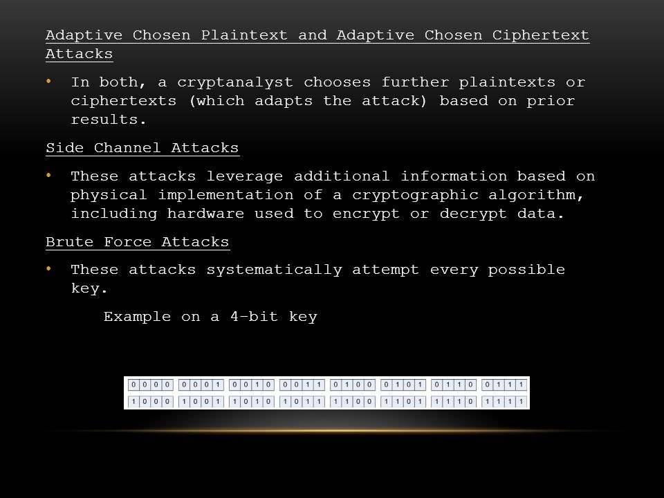 Adaptive Chosen Plaintext and Adaptive Chosen Ciphertext Attacks In both, a cryptanalyst chooses further plaintexts or ciphertexts (which adapts the attack) based on prior results.