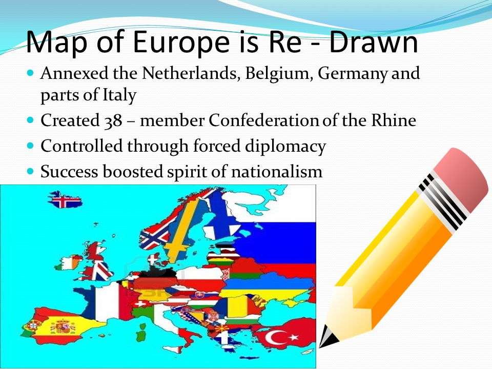 Map of Europe is Re - Drawn Annexed the Netherlands, Belgium, Germany and parts of Italy Created 38 – member Confederation of the Rhine Controlled through forced diplomacy Success boosted spirit of nationalism