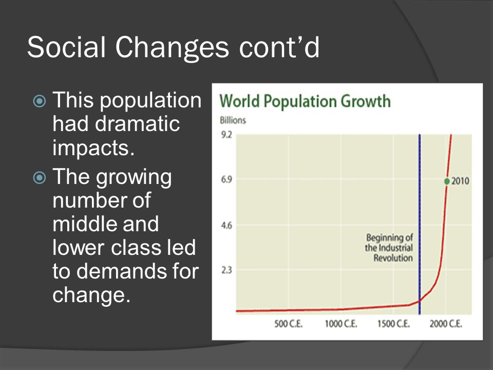 Social Changes cont'd  Also, more people naturally meant more consumers.