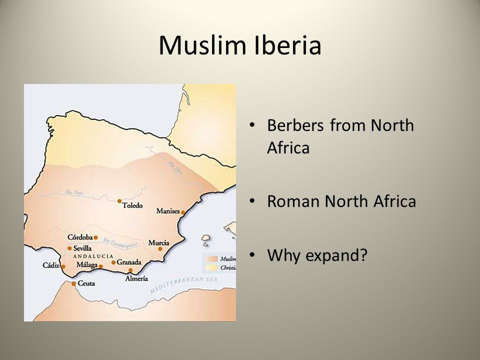 Muslim Iberia Berbers from North Africa Roman North Africa Why expand