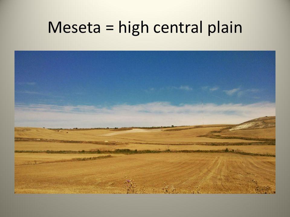 Meseta = high central plain