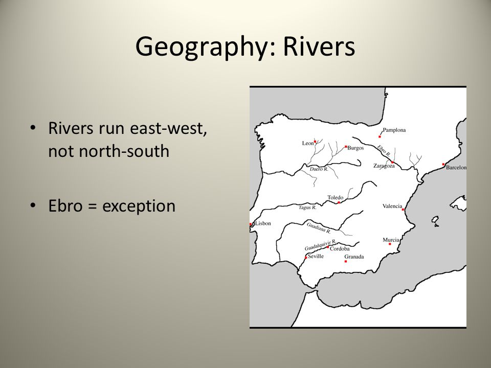 Geography: Rivers Rivers run east-west, not north-south Ebro = exception