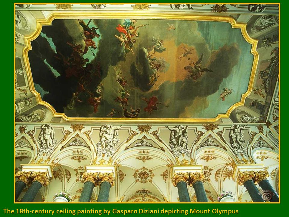 The staircase is adorned with statues, some were brought from Italy in Peter the Great s reign