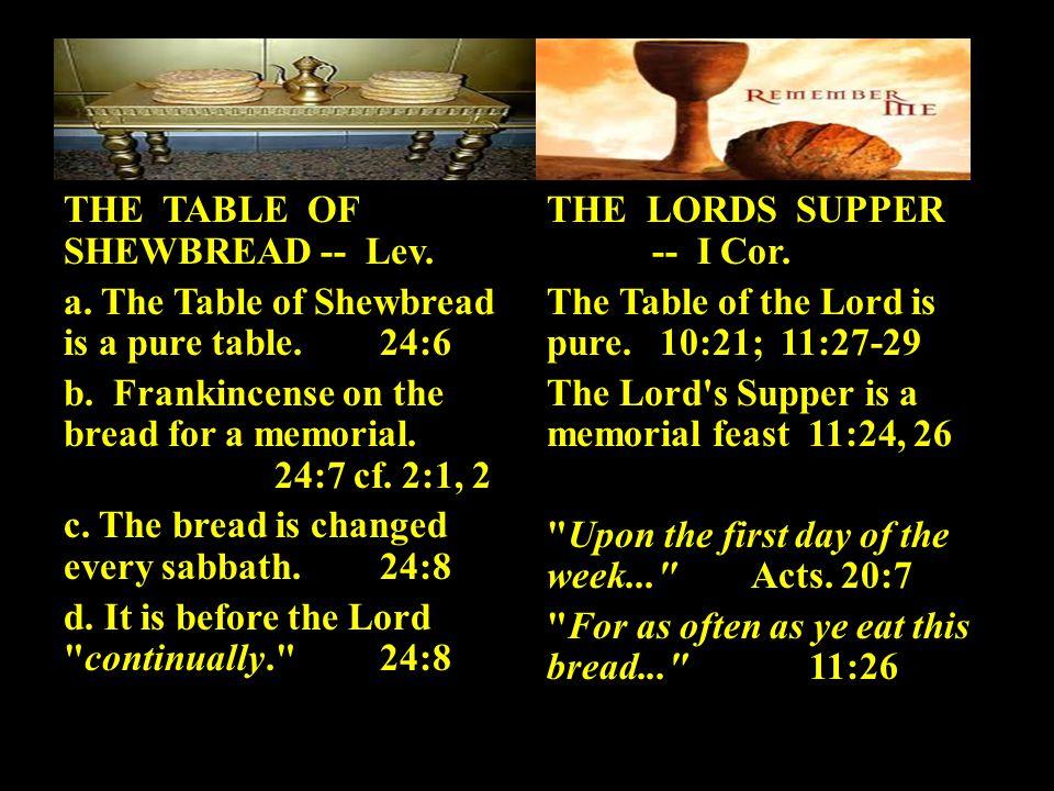B. The Spiritual Significance: 1. The Godward AspectExo. 25:23-30 2. The Manward Aspect:Lev. 24:5-9 THE TABLE OF SHEWBREAD -- Lev. a. The Table of She