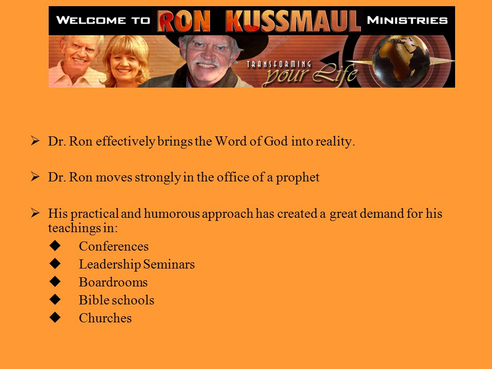  Dr. Ron effectively brings the Word of God into reality.