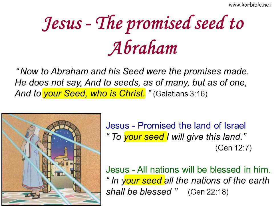 """www.korbible.net Jesus - The promised seed to Abraham """" Now to Abraham and his Seed were the promises made. He does not say, And to seeds, as of many,"""
