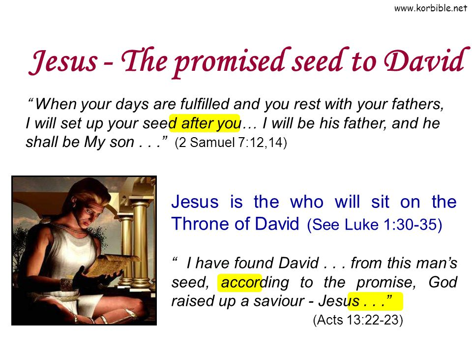 """www.korbible.net Jesus - The promised seed to David Jesus is the who will sit on the Throne of David (See Luke 1:30-35) """" I have found David... from t"""