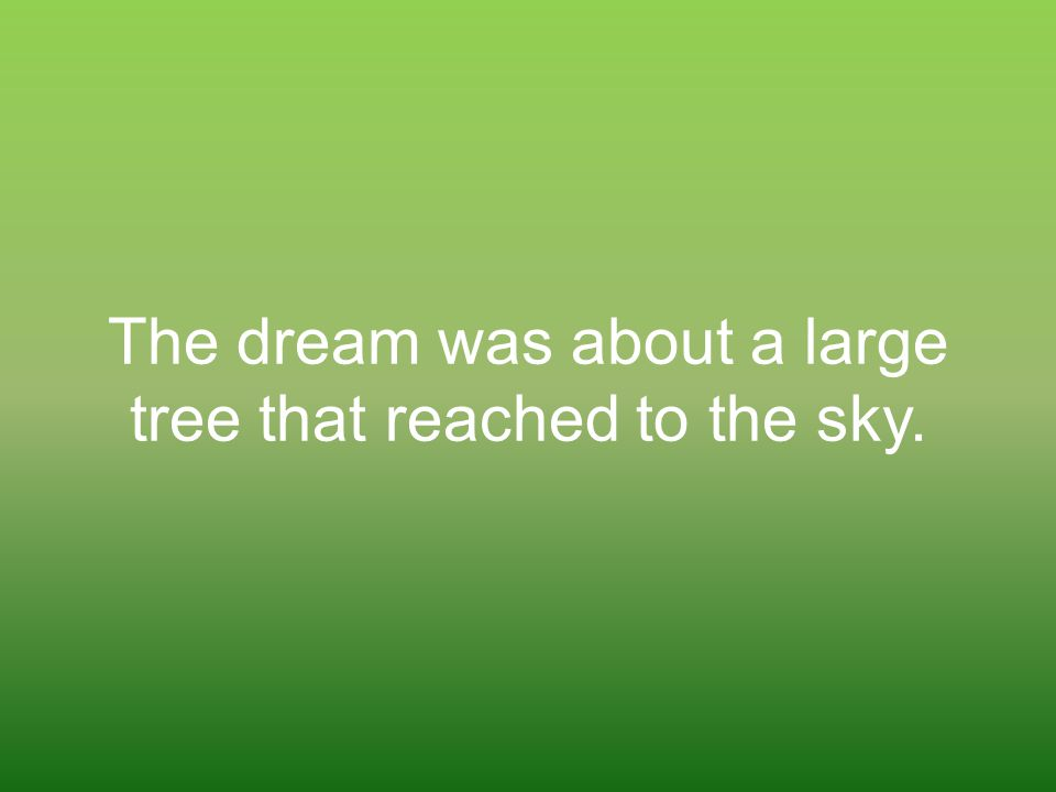 The dream was about a large tree that reached to the sky.