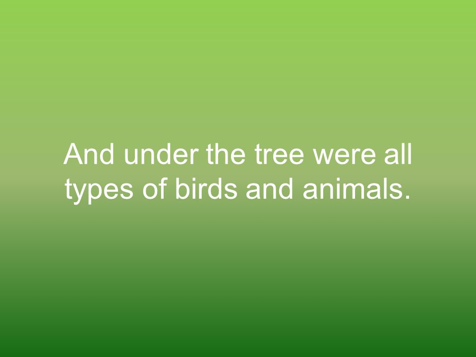 And under the tree were all types of birds and animals.
