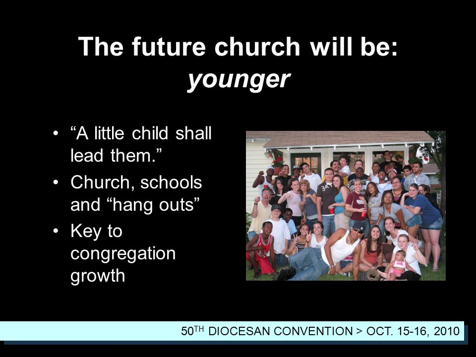 A little child shall lead them. Church, schools and hang outs Key to congregation growth The future church will be: younger