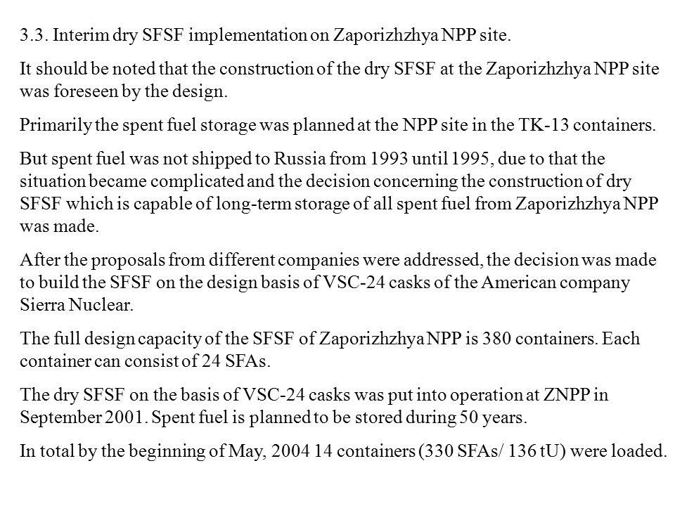 3.3. Interim dry SFSF implementation on Zaporizhzhya NPP site.