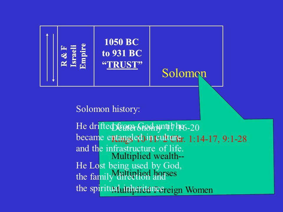 1050 BC to 931 BC TRUST R & F Israeli Empire 1050 BC to 931 BC TRUST R & F Israeli Empire Solomon Deuteronomy 17:16-20 Kings 10-11/ 2 Chr.
