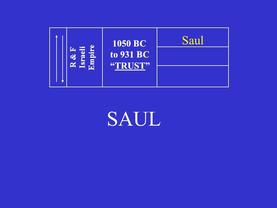SAUL 1050 BC to 931 BC TRUST R & F Israeli Empire 1050 BC to 931 BC TRUST R & F Israeli Empire Saul