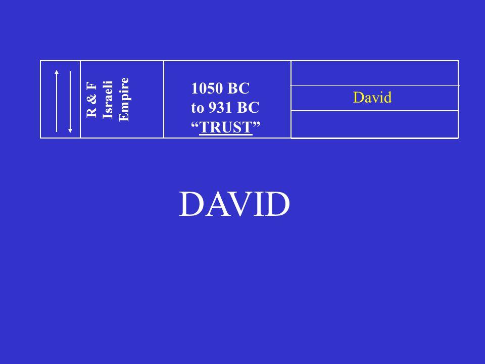 1050 BC to 931 BC TRUST R & F Israeli Empire David DAVID