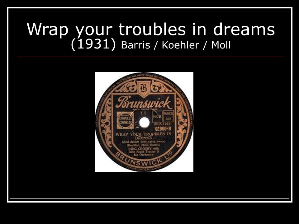 Wrap your troubles in dreams (1931) Barris / Koehler / Moll