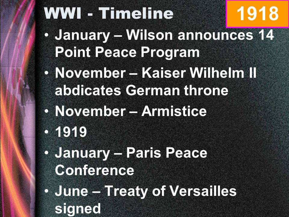 WWI - Timeline January – Zimmermann note intercepted by British April – U.S.