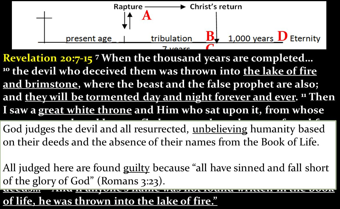 D C B A) A) Judgment of Rewards: Judgment of believers raptured or resurrected after the phase 1 coming of Christ B) B) Judgment of the Tribulation Martyrs: Evaluation of the people who died for Jesus during the tribulation which takes place as the end of the tribulation.
