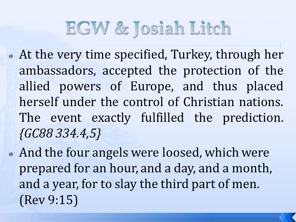  At the very time specified, Turkey, through her ambassadors, accepted the protection of the allied powers of Europe, and thus placed herself under the control of Christian nations.