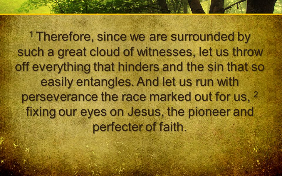 1 Therefore, since we are surrounded by such a great cloud of witnesses, let us throw off everything that hinders and the sin that so easily entangles