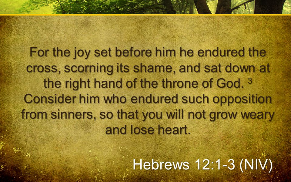 For the joy set before him he endured the cross, scorning its shame, and sat down at the right hand of the throne of God. 3 Consider him who endured s