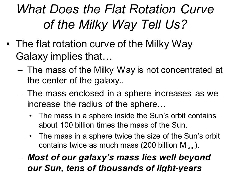 What Does the Flat Rotation Curve of the Milky Way Tell Us? The flat rotation curve of the Milky Way Galaxy implies that… –The mass of the Milky Way i