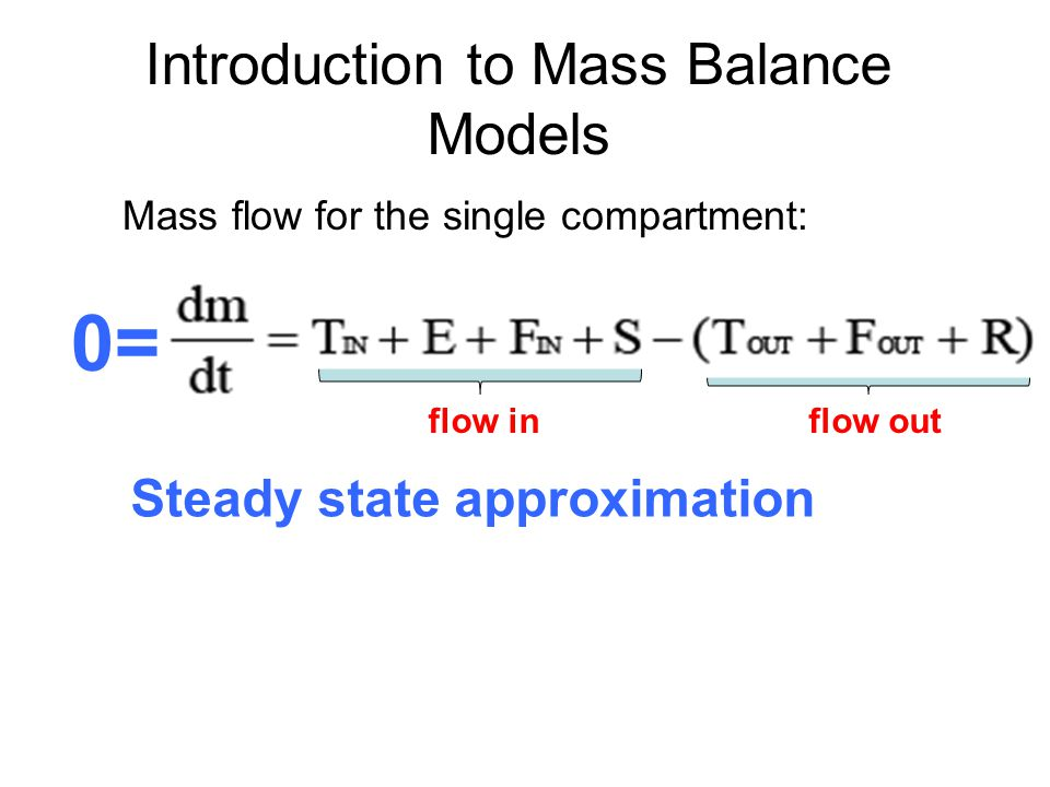 Introduction to Mass Balance Models flow inflow out Mass flow for the single compartment: 0= Steady state approximation