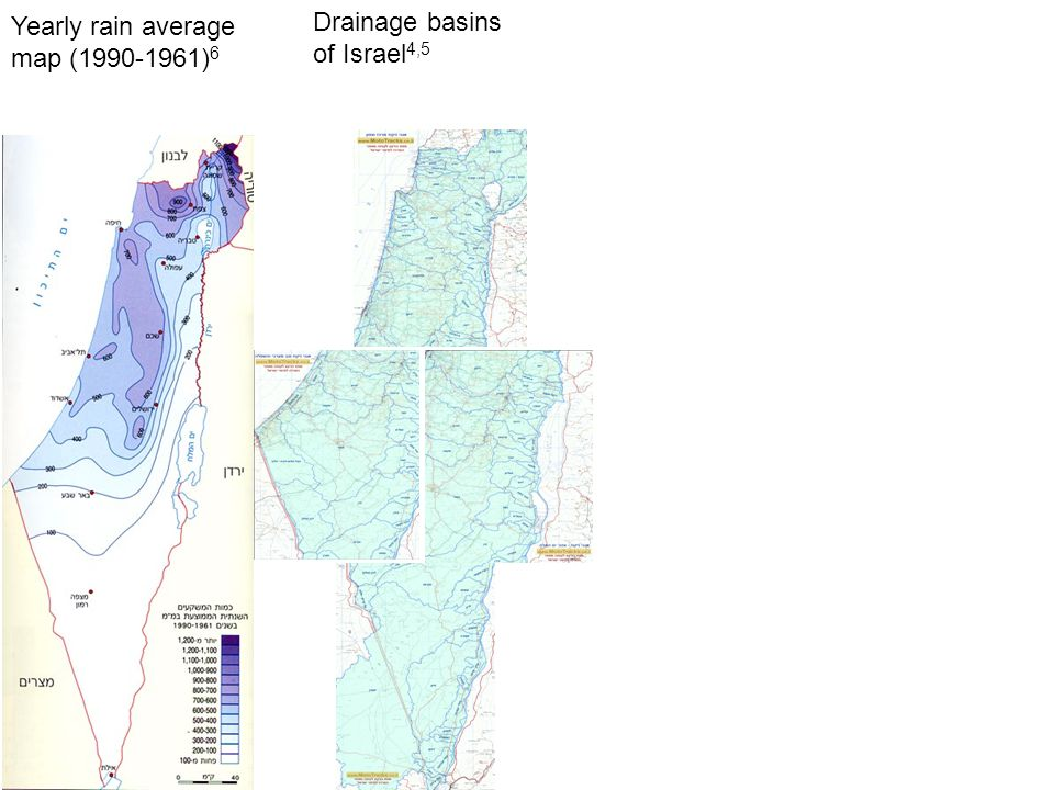 Drainage basins of Israel 4,5 Yearly rain average map (1990-1961) 6