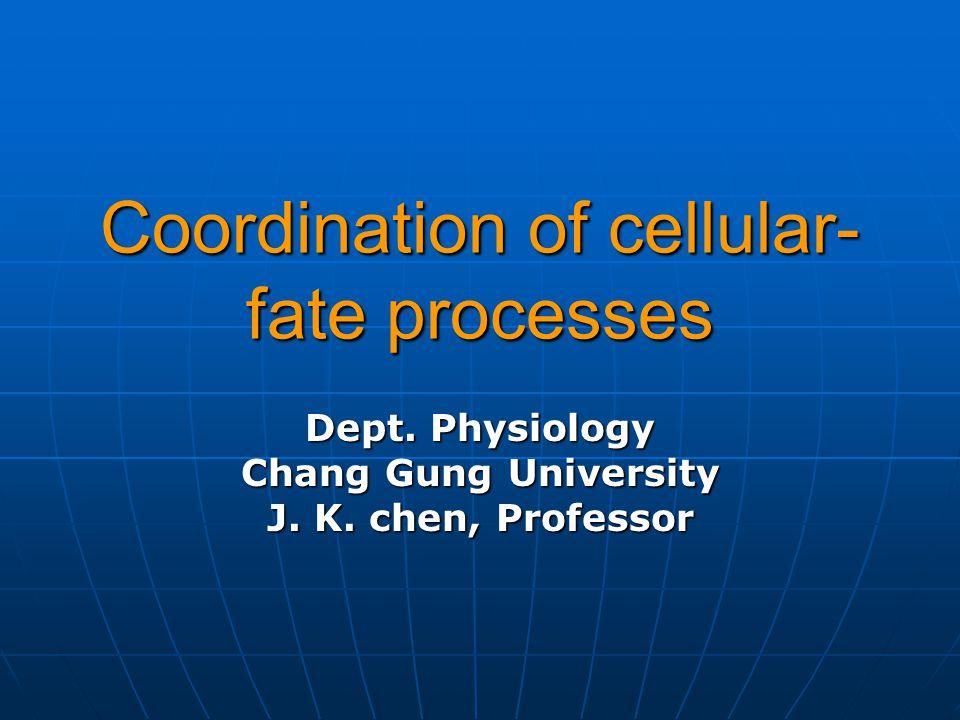 Coordination of cellular- fate processes Dept. Physiology Chang Gung University J. K. chen, Professor