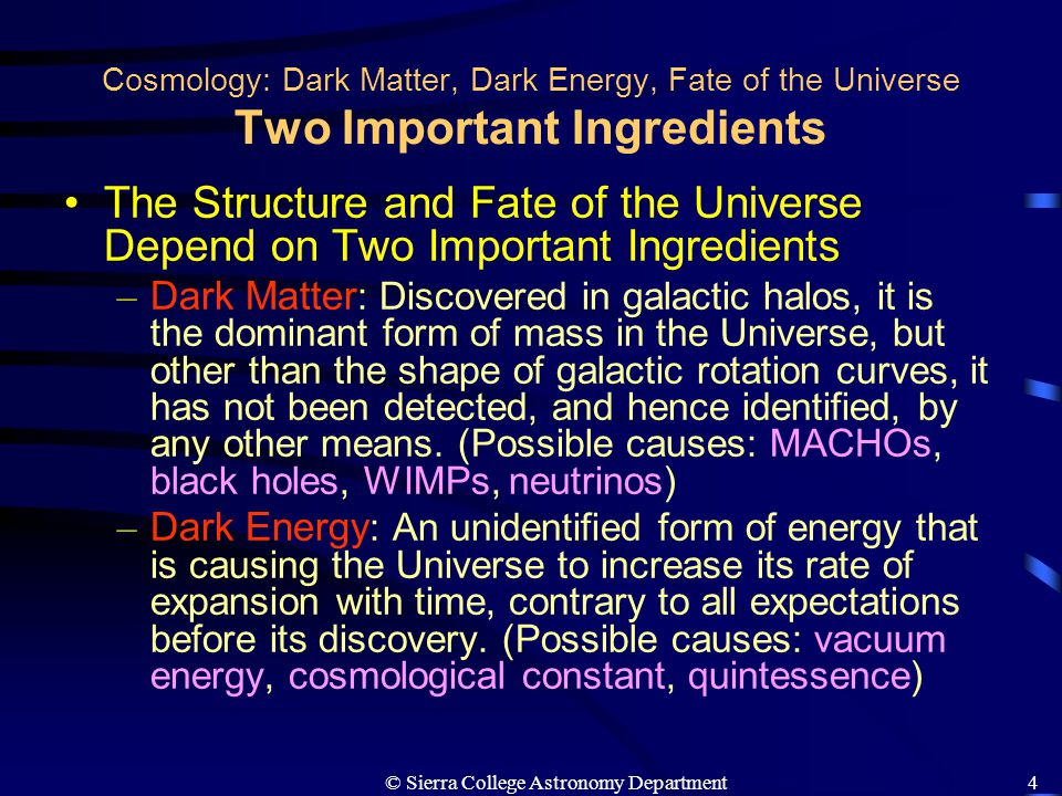 © Sierra College Astronomy Department5 Cosmology: Dark Matter, Dark Energy, Fate of the Universe Evidence for Dark Matter Evidence for Dark Matter in Galaxies – The Milky Way Galaxy The rotation curve of the Galaxy as determined by 21-cm radiation from clouds and optical lines from stars.