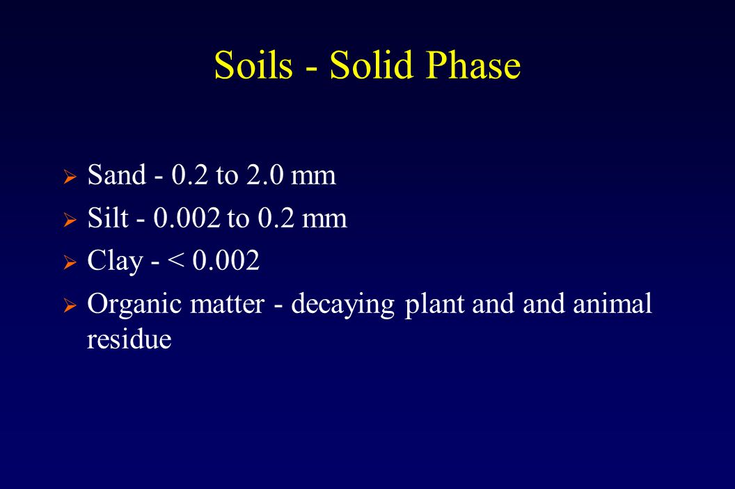 Soils - Solid Phase  Sand - 0.2 to 2.0 mm  Silt - 0.002 to 0.2 mm  Clay - < 0.002  Organic matter - decaying plant and and animal residue