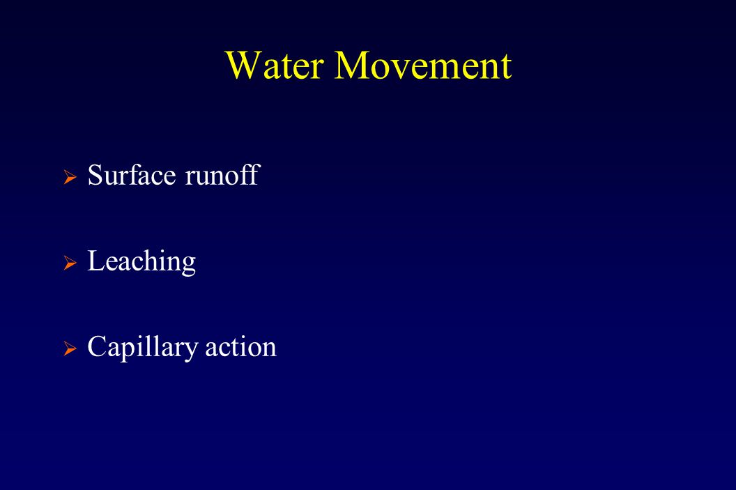 Water Movement  Surface runoff  Leaching  Capillary action